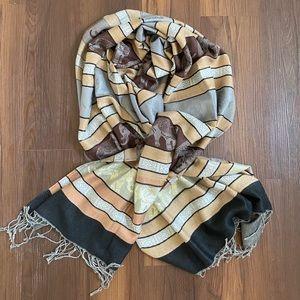 Pashmina cashmere gold tan brown gray fringe scarf